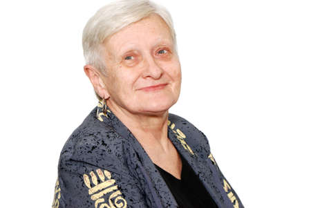 aging face: Portrait of the old woman on a light background