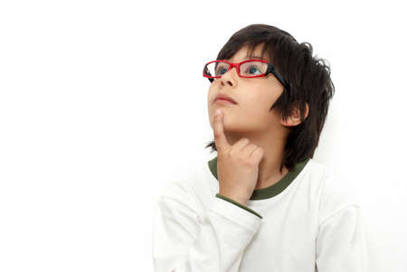 The schoolboy in glasses on a light background