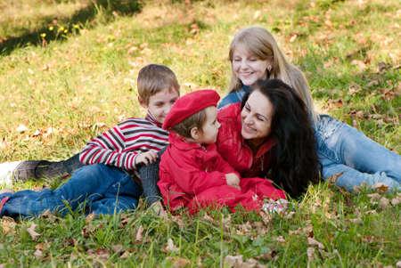 Happy family in park Stock Photo - 10695383