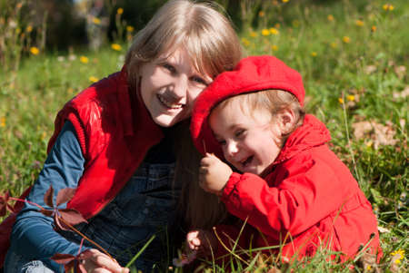 Portrait two sisters outdoors, happy family Stock Photo - 10695377