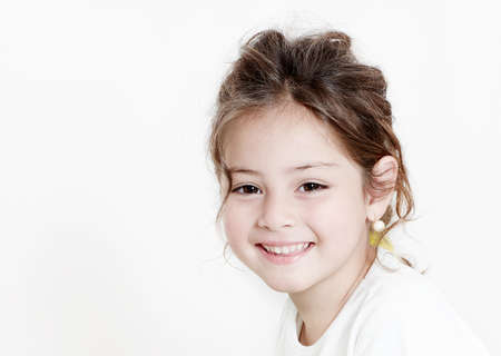 happy little girl a on white background  Stock Photo
