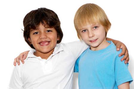 latin child: Children friends a over white background