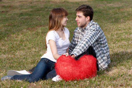 Loving young couple, beautiful and happy photo