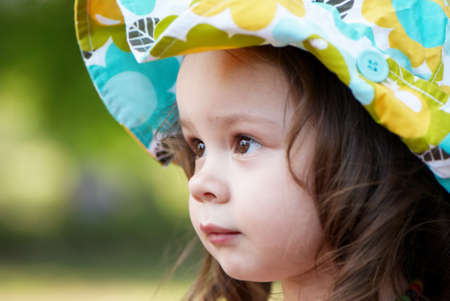Portrait of the small nice girl. Large the plan Stock Photo