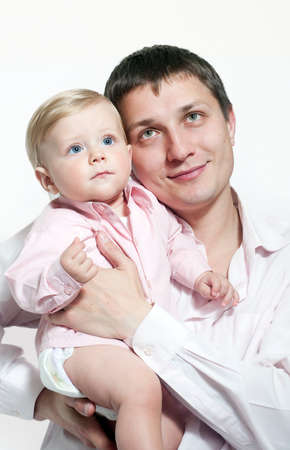 paternal: Portrait of happy father and his baby