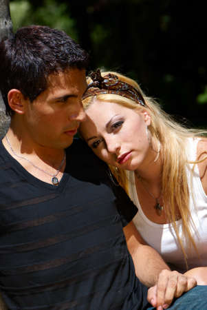 Portrait of emotional pair wallowed in problems of mutual relations Stock Photo - 12137067