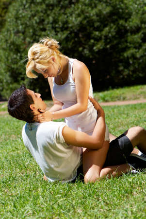 sexy kiss:  Portrait of loving couple against the nature