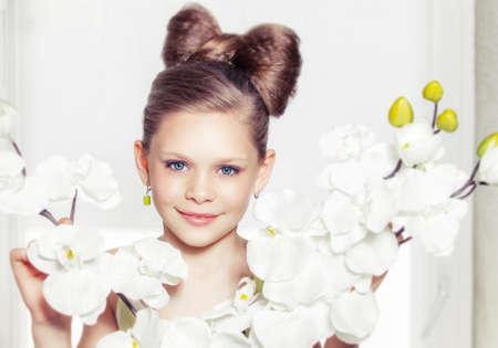 hair bow: Portrait of a little fashion kid girl