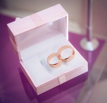 wedding bands: Wedding bands in the box Stock Photo