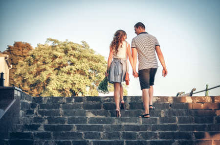 acquaintance: Happy lovers on romantic walk Stock Photo