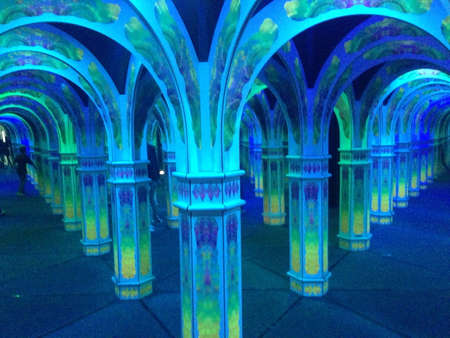 Mirror maze with beautiful lights Banco de Imagens