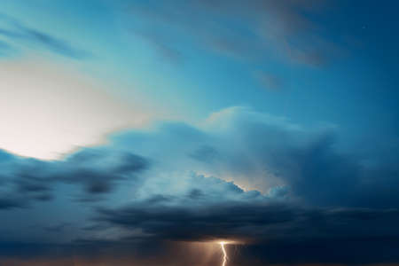 Lightning in the evening sky
