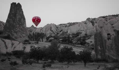 Turkey Flag Hot Air Balloon Stock Photo