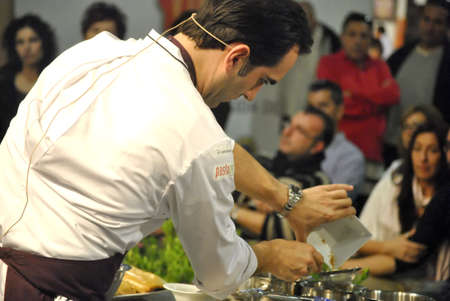 LMG Best Culinary Congress, public figure chef Mario Sandoval in culinary demostration, at IFA Congress Palace, Alicante 2.011