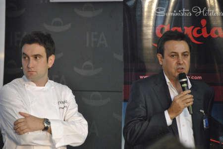 t5: Josean Martinez Alija and Jose Ribagorda public figures, T5 spain television channel presentator, in LMG Culinary Congress. Alicante, Spain.
