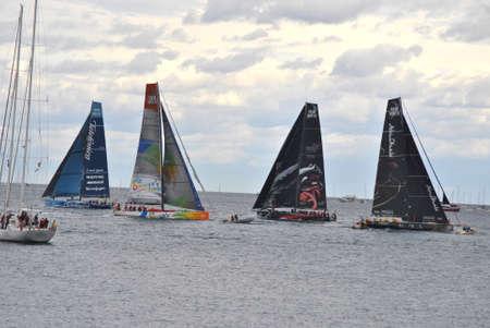 Volvo Ocean Race. Volvo Bay Alicante, Spain. Embarcations preparing for oficial start race day. October 2.011 Editorial