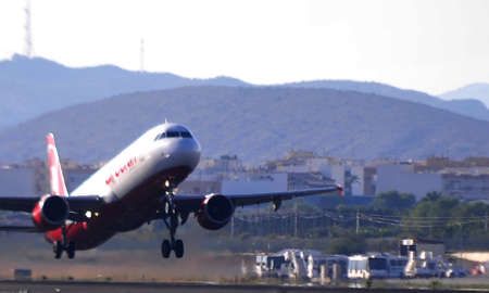 air berlin airbus flying over airport of alicante, spain. 4th October 2.012