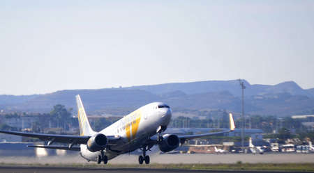 primera airline company taking elevation in airport of alicante, 4th October 2.012