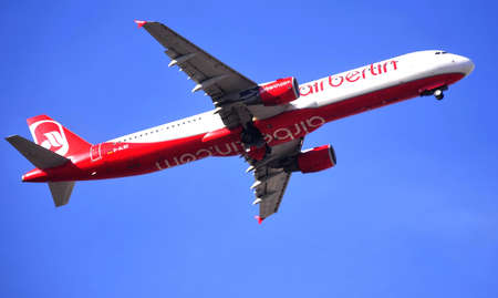 air berlin taking elevation maniobre and take off wheels in airport of alicante, spain 6th October 2.012