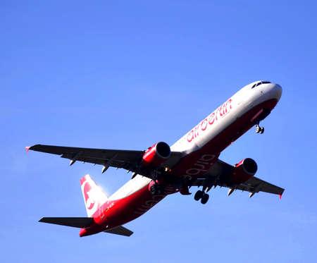air berlin taking elevation maniobre in airport of alicante, spain 6th October 2.012