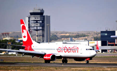 air berlin taking a road for flying in alicante airport, 5th October 2.012