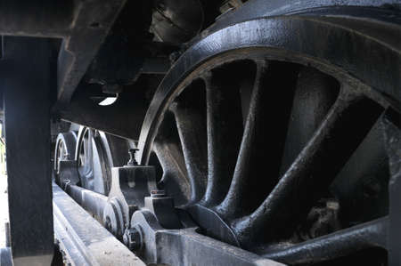 steam train locomotive wheels transmision system photo