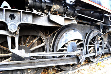 train vintage locomotive wheels transmision system photo