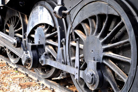 railway train vintage locomotive detailed photo of iron wheels transmision photo