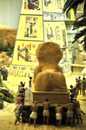 egyptcian representation piramid and port in a diorama or belen representation