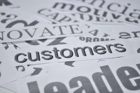 customers word isolated in white background  photo