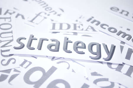 strategy word marketing concept in word paper white background