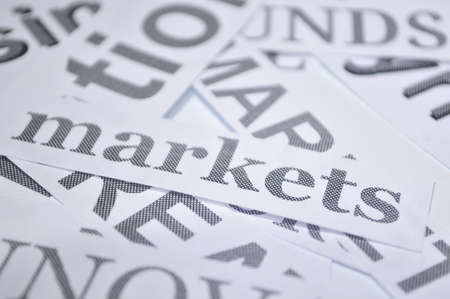 markets word in white paper background marketing and bussines concept  photo