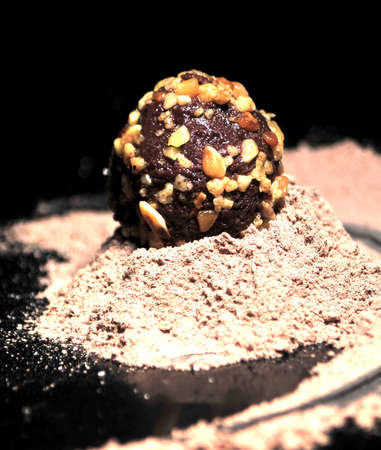 chocolate truffe and cacao in macro photo Stock Photo