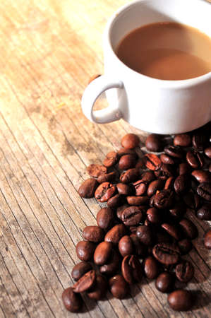 coffee mug and coffee grain beans  Stock Photo