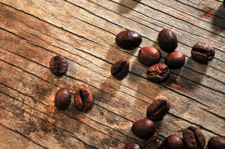 a little selection of gourmet coffee beans over a old wood