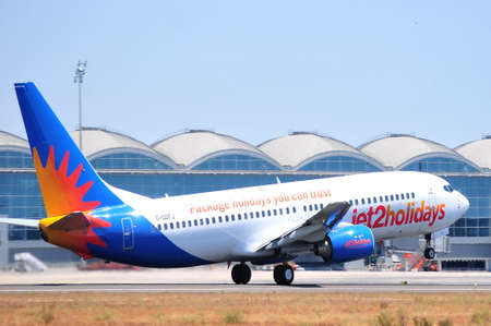 jet2com holydays jetcom air line aeroplane, airport of alicante spain