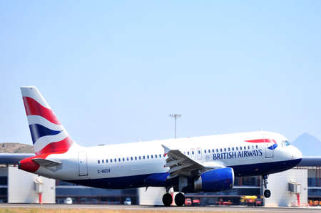 british airways runnig in piste of alicante airport, spain