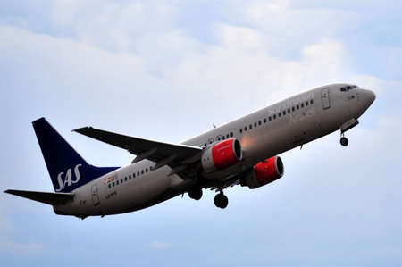 sas scandinavian airline in airport of alicante, spain