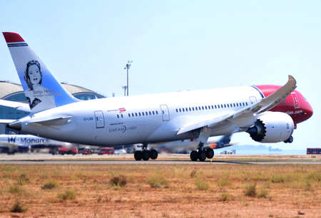 boeing 737 dreamliner aircraft take elevation in airport of alicante, spain