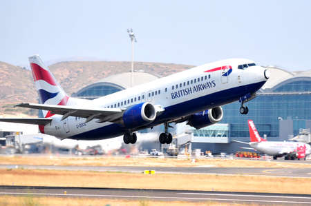 british airways take elevation maniobre airport flying, alicante spain