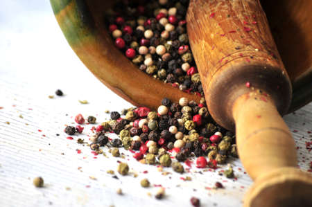 elaboration: pepper corns for molturation and adding to a meal elaboration cook Stock Photo