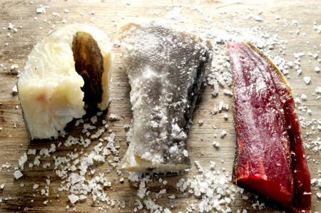 cold and tuna fish in salt preservation cooking dried ingredient  photo