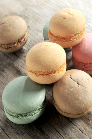 macaron sweet delicious dessert on wood table  photo