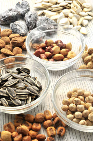 snack time: snack time nuts and seed appetisers  Stock Photo