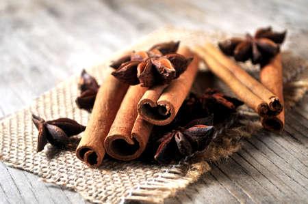 oriental spice cinammon sticks and anise star  photo