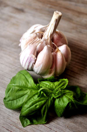 garlic and basil for pesto italian sauce  Stock Photo