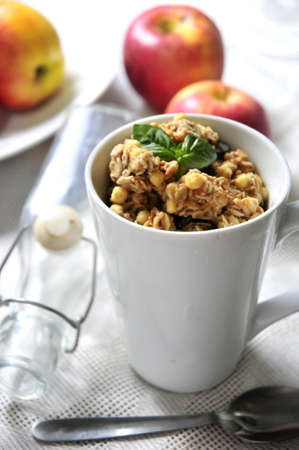 healthy breakfast cereal and fruits  photo
