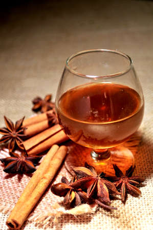 alcohol cognac destilled from spice and grapes  photo