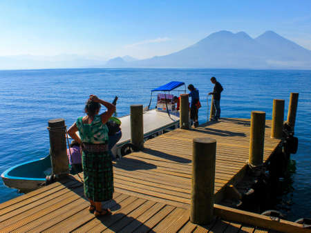 Guatemalan natives preparing their boat in San Marcos de la Laguna bay