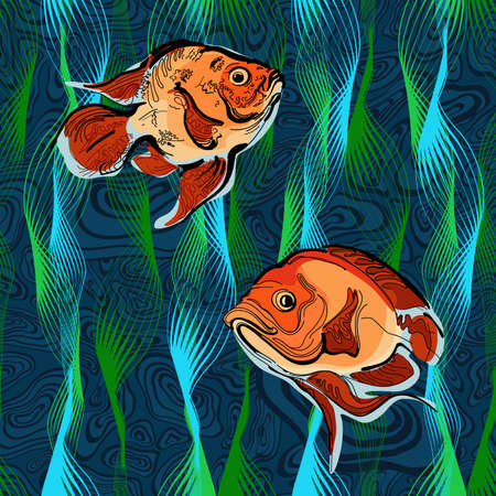 Colorful illustration of fishes